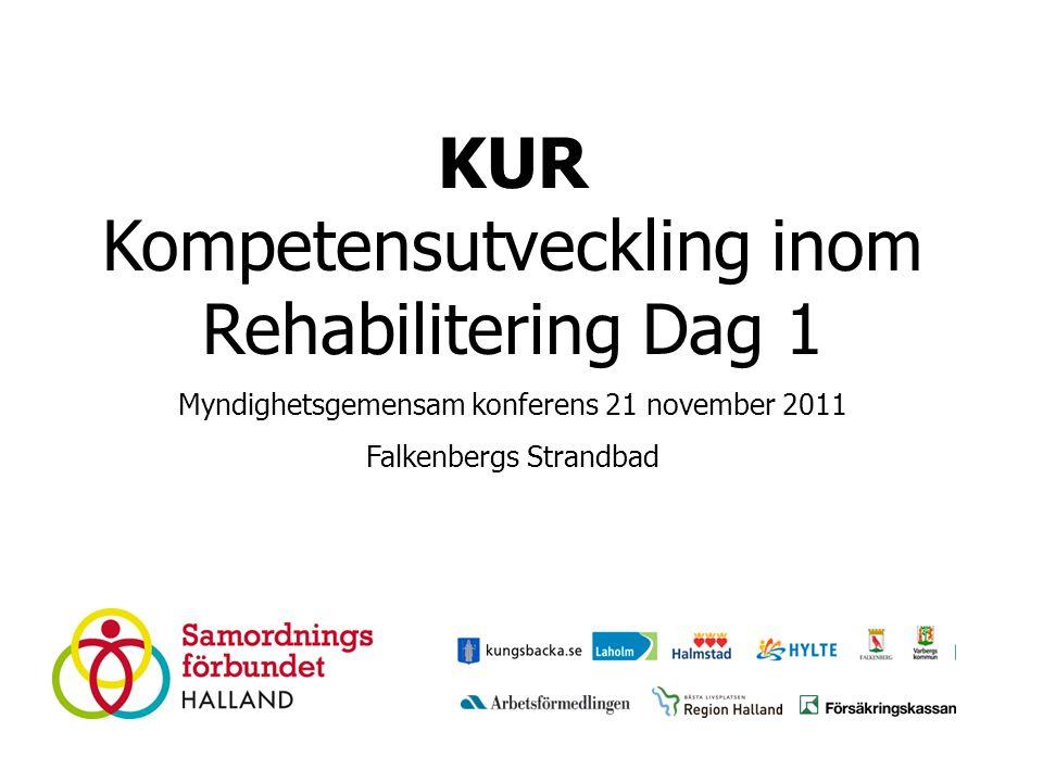 KUR Kompetensutveckling inom Rehabilitering Dag 1 Myndighetsgemensam konferens 21 november 2011 Falkenbergs Strandbad
