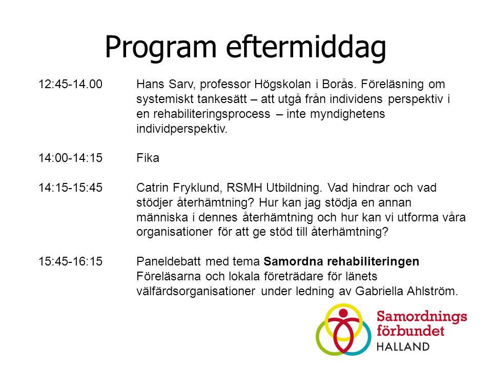 Program eftermiddag 12:45-14.00 Hans Sarv, professor Högskolan i Borås.