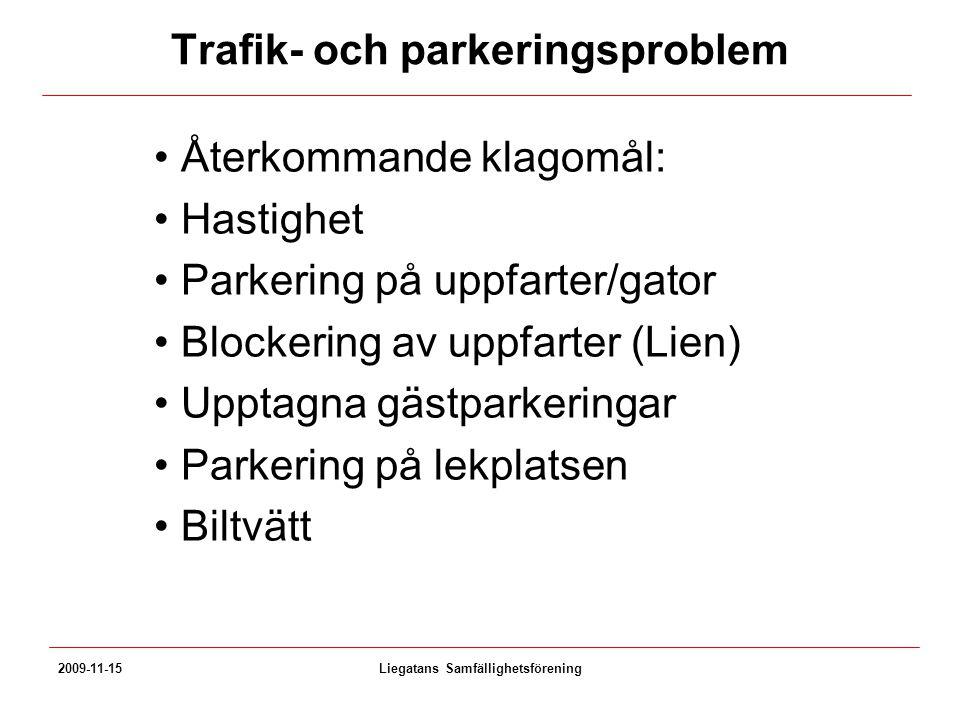 Trafik- och parkeringsproblem Återkommande klagomål: Hastighet Parkering på uppfarter/gator Blockering av uppfarter (Lien) Upptagna gästparkeringar Pa