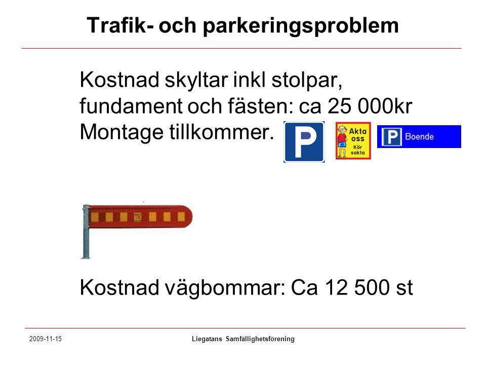 Trafik- och parkeringsproblem Kostnad skyltar inkl stolpar, fundament och fästen: ca 25 000kr Montage tillkommer. Kostnad vägbommar: Ca 12 500 st 2009