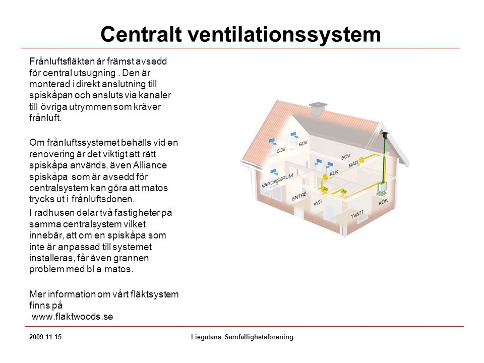 Centralt ventilationssystem Frånluftsfläkten är främst avsedd för central utsugning. Den är monterad i direkt anslutning till spiskåpan och ansluts vi