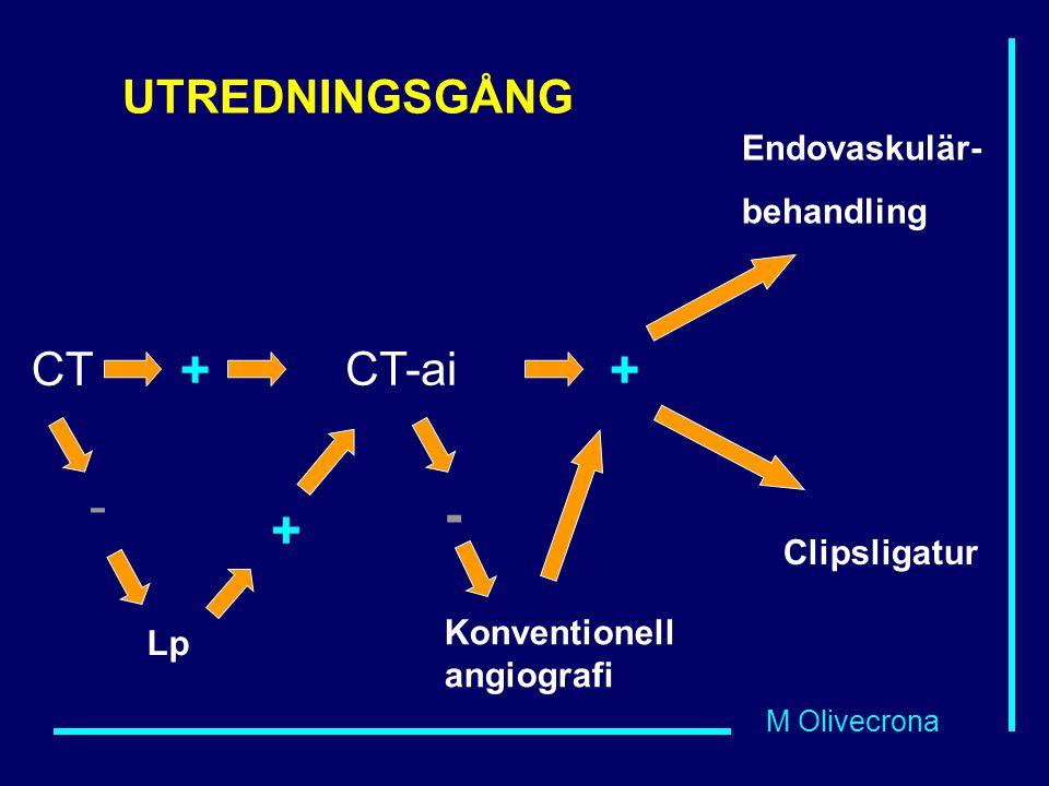 M Olivecrona CT + CT-ai Lp - + + Endovaskulär- behandling Clipsligatur - Konventionell angiografi UTREDNINGSGÅNG