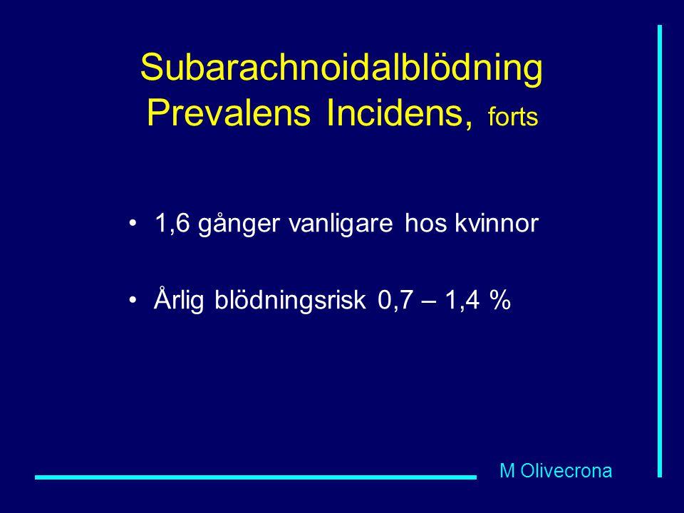 M Olivecrona Subarachnoidalblödning Prevalens Incidens, forts 1,6 gånger vanligare hos kvinnor Årlig blödningsrisk 0,7 – 1,4 %