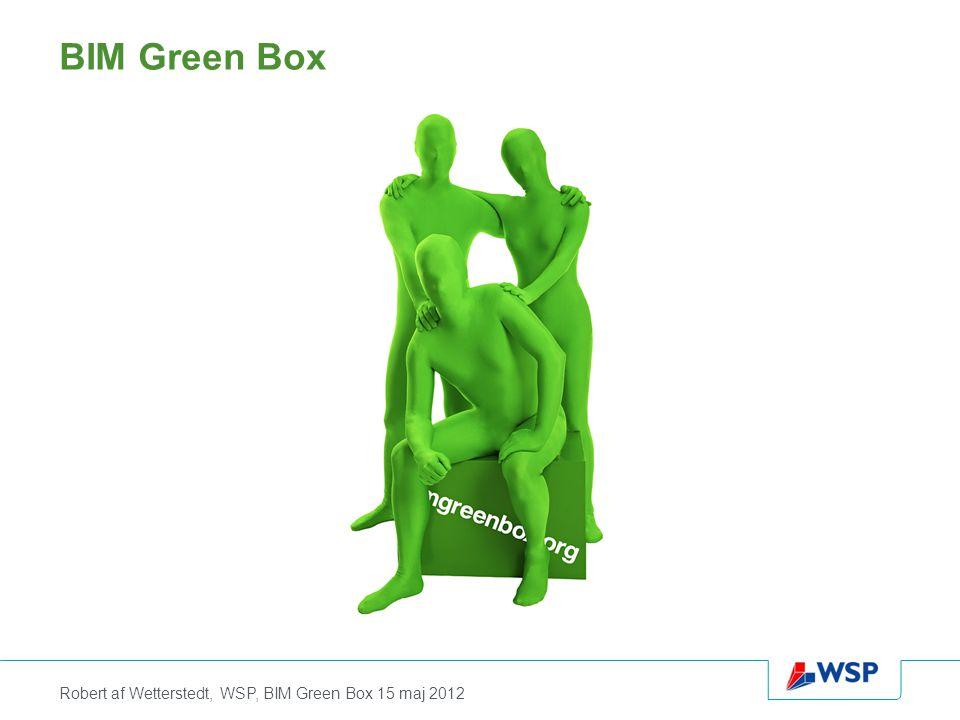 Robert af Wetterstedt, WSP, BIM Green Box 15 maj 2012 BIM Green Box är ett initiativ för att i samverkan skapa, utveckla och förvalta ett oavbrutet digitalt non profit informationsflöde inom samhällsbyggnadssektorn genom hela processens alla faser ifrån råvarutvinning till byggnation och förvaltning samt återvinning www.bimgreenbox.org
