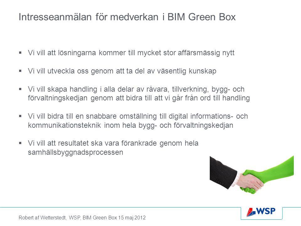 Robert af Wetterstedt, WSP, BIM Green Box 15 maj 2012 Intresseanmälan för medverkan i BIM Green Box  Vi vill att lösningarna kommer till mycket stor affärsmässig nytt  Vi vill utveckla oss genom att ta del av väsentlig kunskap  Vi vill skapa handling i alla delar av råvara, tillverkning, bygg- och förvaltningskedjan genom att bidra till att vi går från ord till handling  Vi vill bidra till en snabbare omställning till digital informations- och kommunikationsteknik inom hela bygg- och förvaltningskedjan  Vi vill att resultatet ska vara förankrade genom hela samhällsbyggnadsprocessen