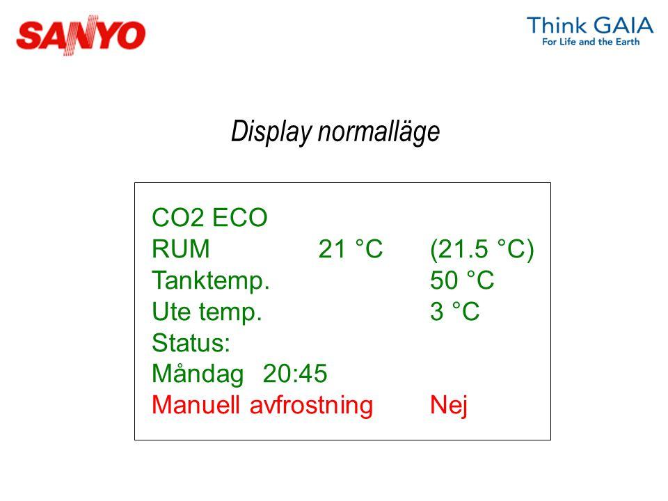 CO2 ECO RUM21 °C(21.5 °C) Tanktemp.50 °C Ute temp. 3 °C Status: Måndag20:45 Manuell avfrostningNej Display normalläge