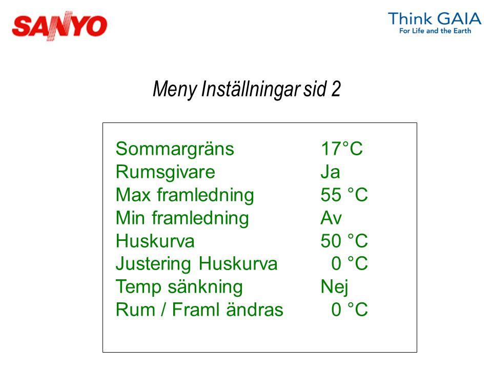 Sommargräns17°C RumsgivareJa Max framledning55 °C Min framledningAv Huskurva50 °C Justering Huskurva 0 °C Temp sänkningNej Rum / Framl ändras 0 °C Men