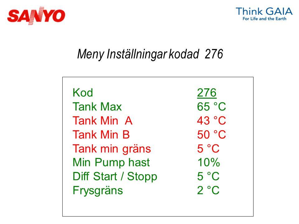 Kod276 Tank Max65 °C Tank Min A43 °C Tank Min B50 °C Tank min gräns5 °C Min Pump hast10% Diff Start / Stopp5 °C Frysgräns2 °C Meny Inställningar kodad