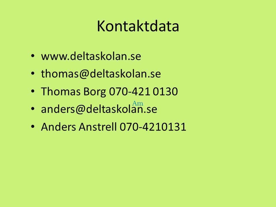 Kontaktdata www.deltaskolan.se thomas@deltaskolan.se Thomas Borg 070-421 0130 anders@deltaskolan.se Anders Anstrell 070-4210131 Am
