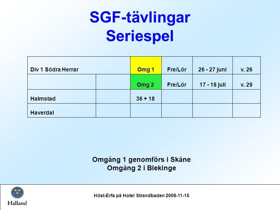SGF-tävlingar Seriespel Höst-Erfa på Hotel Strandbaden 2008-11-15 Div 1 Södra HerrarOmg 1Fre/Lör26 - 27 juniv.