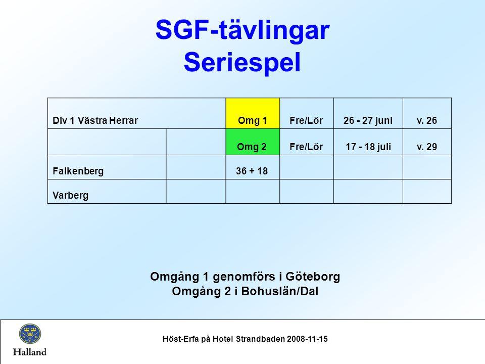 SGF-tävlingar Seriespel Höst-Erfa på Hotel Strandbaden 2008-11-15 Div 1 Västra HerrarOmg 1Fre/Lör26 - 27 juniv.