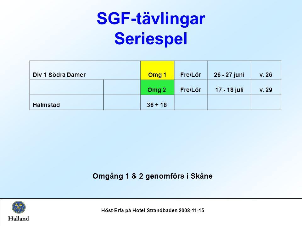 SGF-tävlingar Seriespel Höst-Erfa på Hotel Strandbaden 2008-11-15 Div 1 Södra DamerOmg 1Fre/Lör26 - 27 juniv.