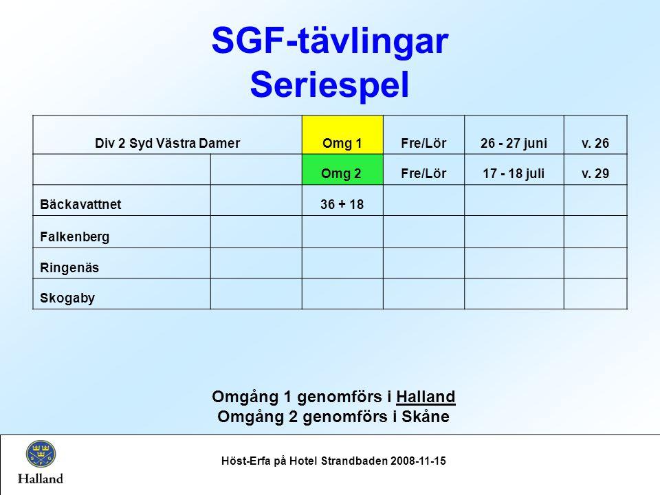 SGF-tävlingar Seriespel Höst-Erfa på Hotel Strandbaden 2008-11-15 Omgång 1 genomförs i Halland Omgång 2 genomförs i Skåne Div 2 Syd Västra DamerOmg 1Fre/Lör26 - 27 juniv.