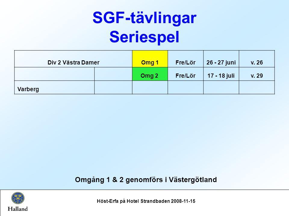 SGF-tävlingar Seriespel Höst-Erfa på Hotel Strandbaden 2008-11-15 Omgång 1 & 2 genomförs i Västergötland Div 2 Västra DamerOmg 1Fre/Lör26 - 27 juniv.