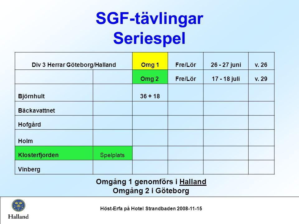 SGF-tävlingar Seriespel Höst-Erfa på Hotel Strandbaden 2008-11-15 Omgång 1 genomförs i Halland Omgång 2 i Göteborg Div 3 Herrar Göteborg/HallandOmg 1Fre/Lör26 - 27 juniv.