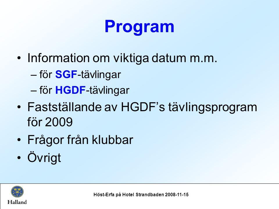 Program Information om viktiga datum m.m.