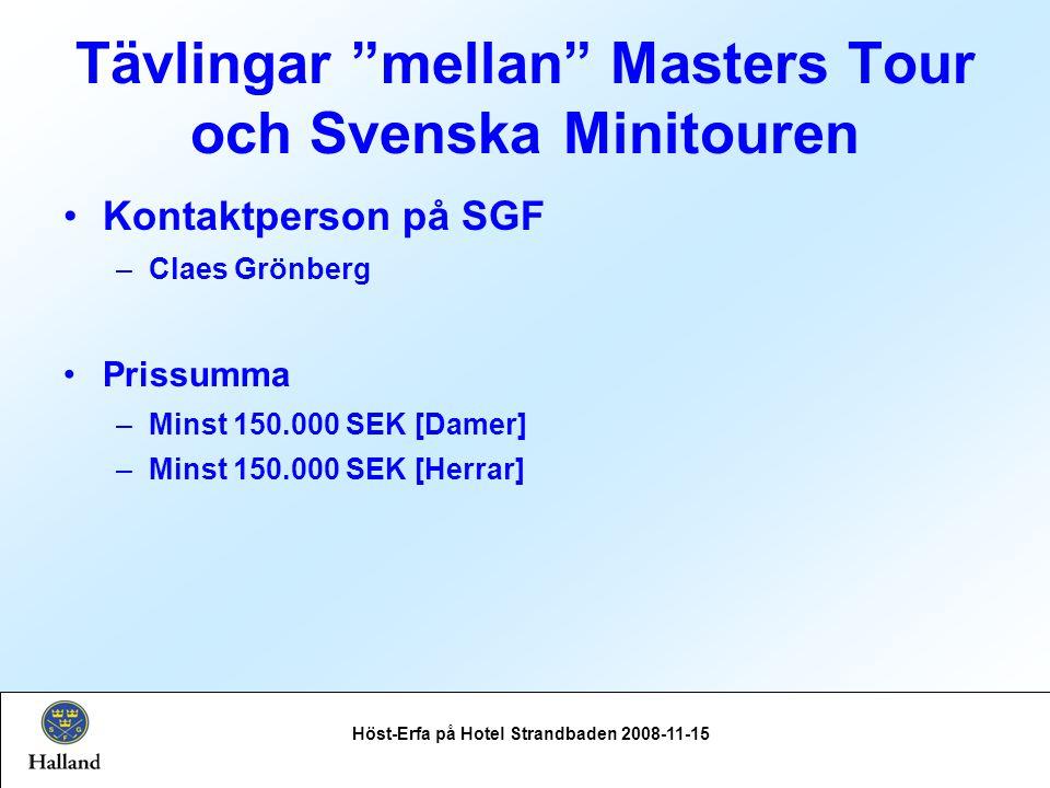 Tävlingar mellan Masters Tour och Svenska Minitouren Höst-Erfa på Hotel Strandbaden 2008-11-15 Kontaktperson på SGF –Claes Grönberg Prissumma –Minst 150.000 SEK [Damer] –Minst 150.000 SEK [Herrar]