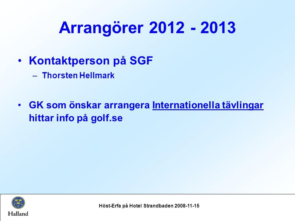 Arrangörer 2012 - 2013 Höst-Erfa på Hotel Strandbaden 2008-11-15 Kontaktperson på SGF –Thorsten Hellmark GK som önskar arrangera Internationella tävlingar hittar info på golf.se