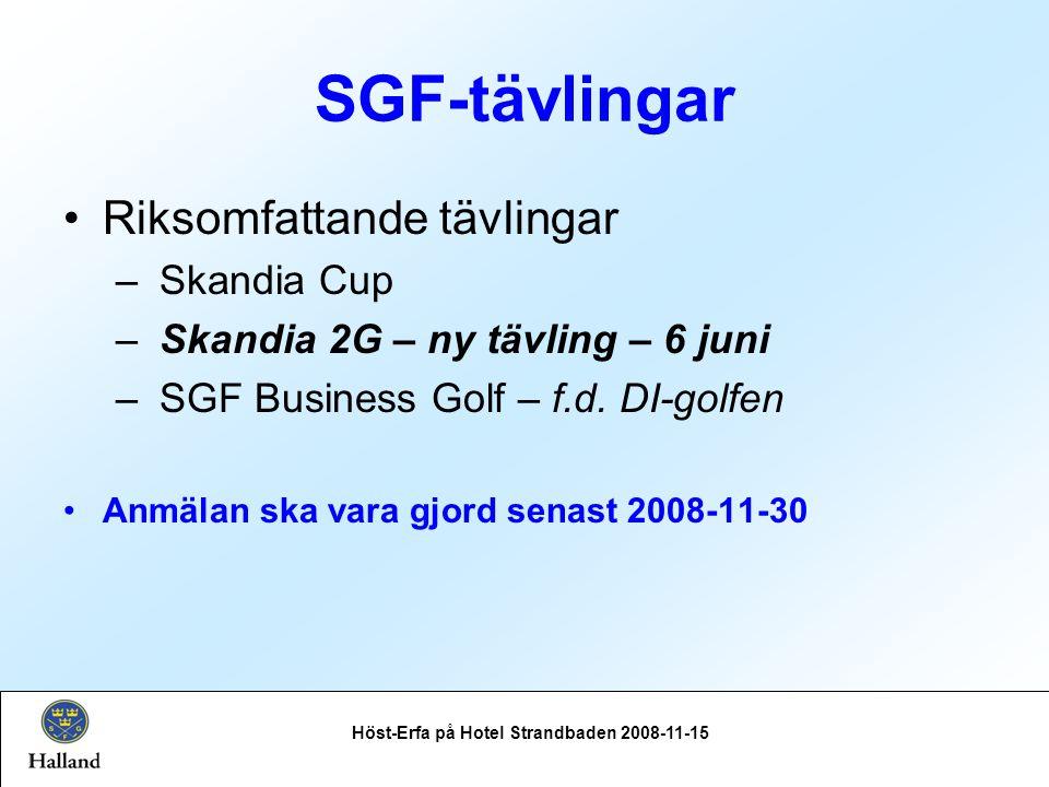 SGF-tävlingar Seriespel Höst-Erfa på Hotel Strandbaden 2008-11-15 Omgång 1 genomförs i Skåne Omgång 2 genomförs i Halland Div 2 Sydvästra HerrarOmg 1Fre/Lör26 - 27 juniv.