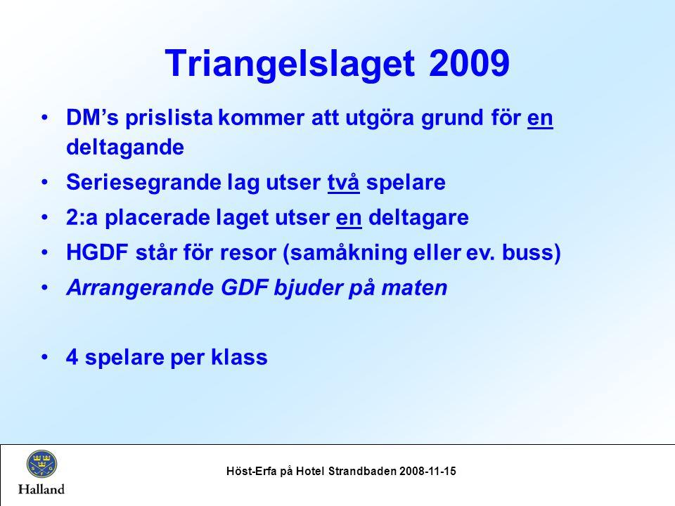 Triangelslaget 2009 Höst-Erfa på Hotel Strandbaden 2008-11-15 DM's prislista kommer att utgöra grund för en deltagande Seriesegrande lag utser två spelare 2:a placerade laget utser en deltagare HGDF står för resor (samåkning eller ev.