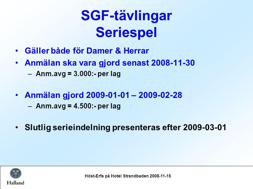 SGF-tävlingar Seriespel Gäller både för Damer & Herrar Anmälan ska vara gjord senast 2008-11-30 –Anm.avg = 3.000:- per lag Anmälan gjord 2009-01-01 – 2009-02-28 –Anm.avg = 4.500:- per lag Slutlig serieindelning presenteras efter 2009-03-01 Höst-Erfa på Hotel Strandbaden 2008-11-15