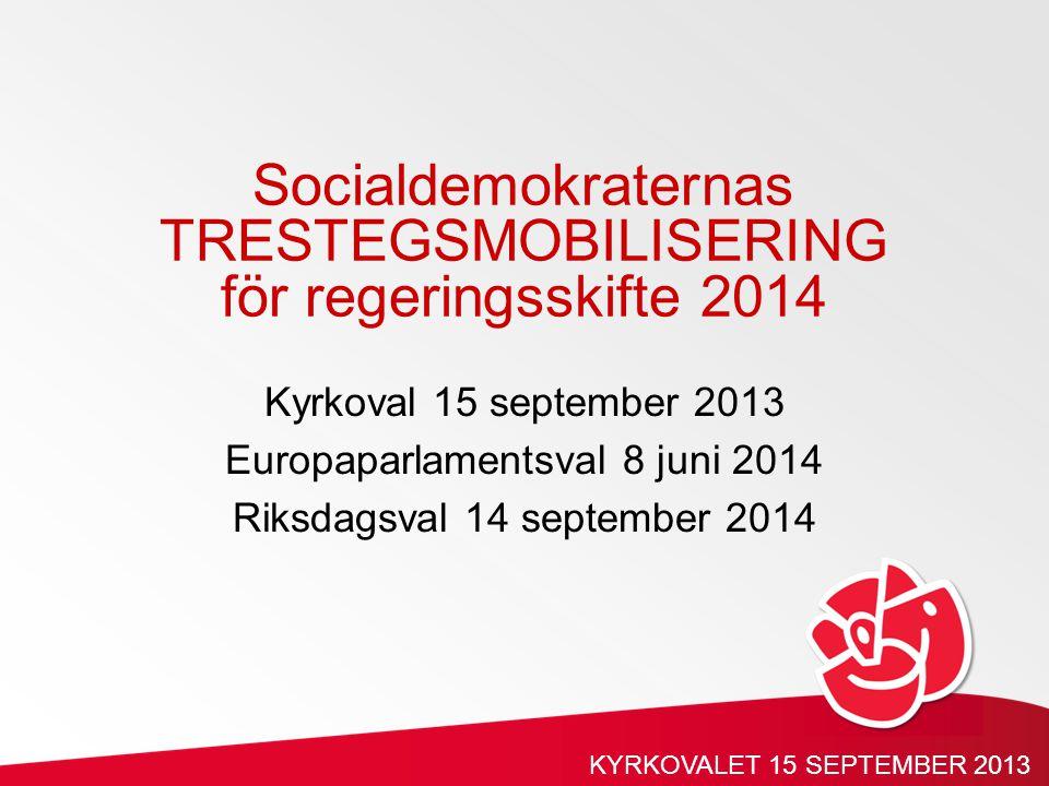Kyrkoval 15 september 2013 Europaparlamentsval 8 juni 2014 Riksdagsval 14 september 2014 Socialdemokraternas TRESTEGSMOBILISERING för regeringsskifte 2014 KYRKOVALET 15 SEPTEMBER 2013