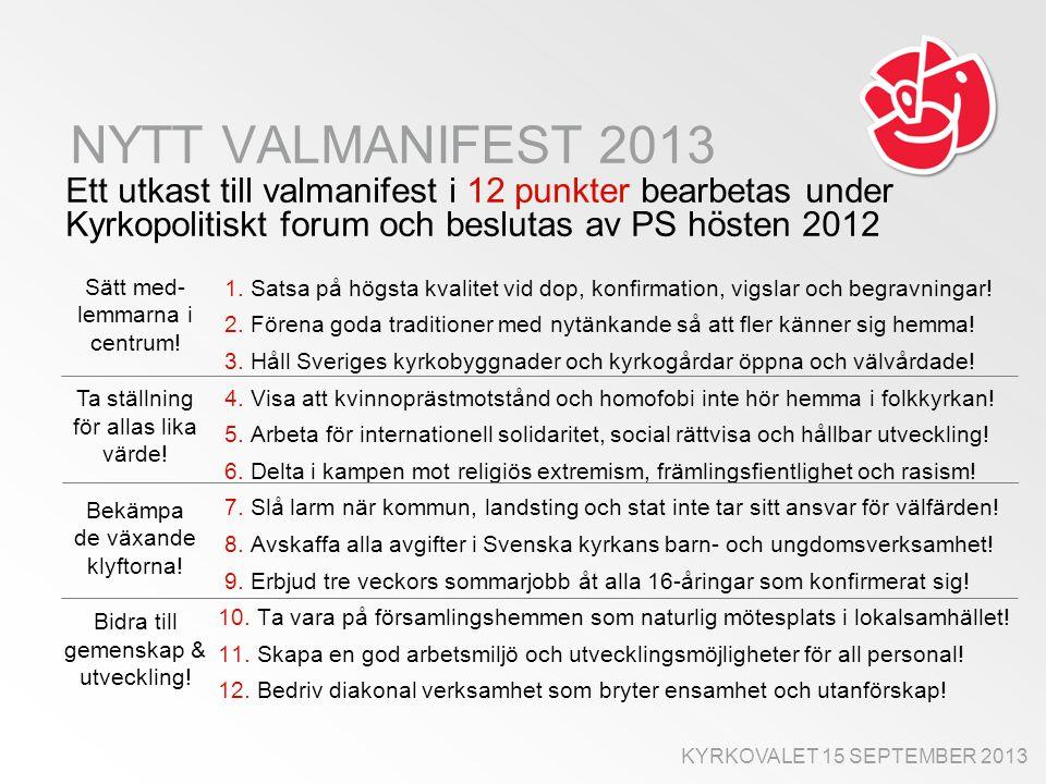 NYTT VALMANIFEST 2013 Ett utkast till valmanifest i 12 punkter bearbetas under Kyrkopolitiskt forum och beslutas av PS hösten 2012 1.