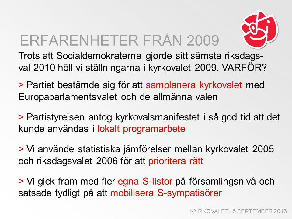 TYDLIGT VALMANIFEST 2009 Socialdemokraternas valmanifest antogs av partistyrelsen i god tid före kyrkovalet och bestod av 12 punkter: 1.