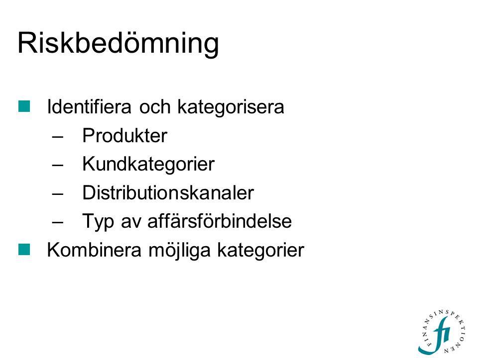 Riskbedömning Identifiera och kategorisera –Produkter –Kundkategorier –Distributionskanaler –Typ av affärsförbindelse Kombinera möjliga kategorier