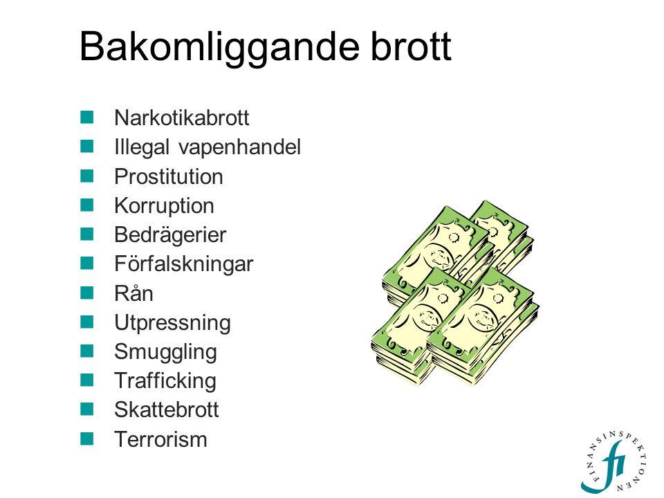Bakomliggande brott Narkotikabrott Illegal vapenhandel Prostitution Korruption Bedrägerier Förfalskningar Rån Utpressning Smuggling Trafficking Skatte