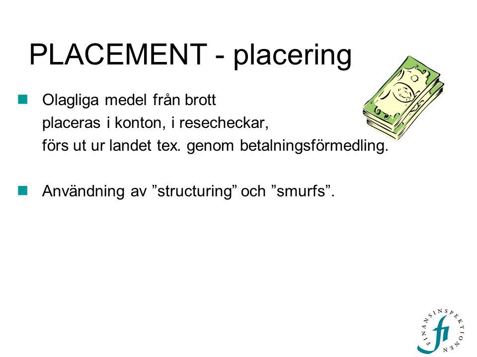 """PLACEMENT - placering Olagliga medel från brott placeras i konton, i resecheckar, förs ut ur landet tex. genom betalningsförmedling. Användning av """"st"""
