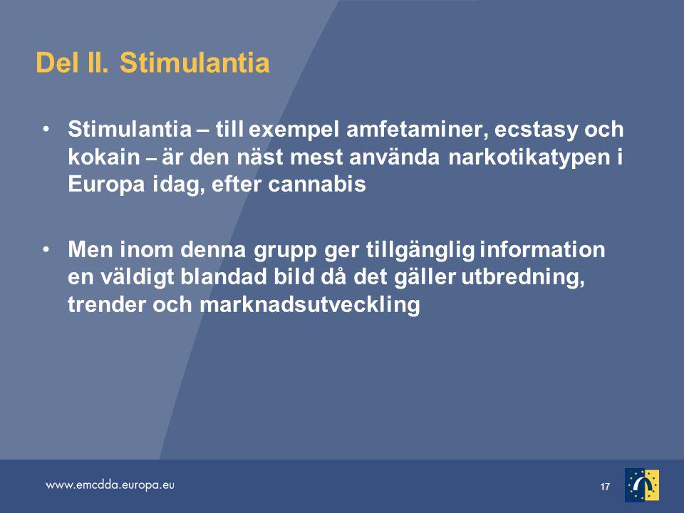 17 Del II. Stimulantia Stimulantia – till exempel amfetaminer, ecstasy och kokain – är den näst mest använda narkotikatypen i Europa idag, efter canna