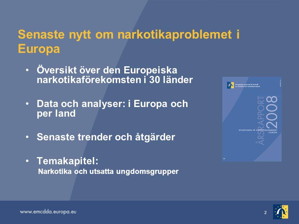 2 Senaste nytt om narkotikaproblemet i Europa Översikt över den Europeiska narkotikaförekomsten i 30 länder Data och analyser: i Europa och per land Senaste trender och åtgärder Temakapitel: Narkotika och utsatta ungdomsgrupper