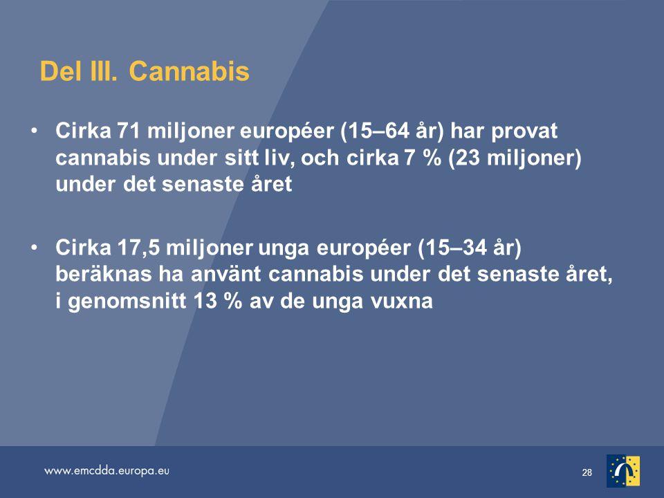28 Del III. Cannabis Cirka 71 miljoner européer (15–64 år) har provat cannabis under sitt liv, och cirka 7 % (23 miljoner) under det senaste året Cirk