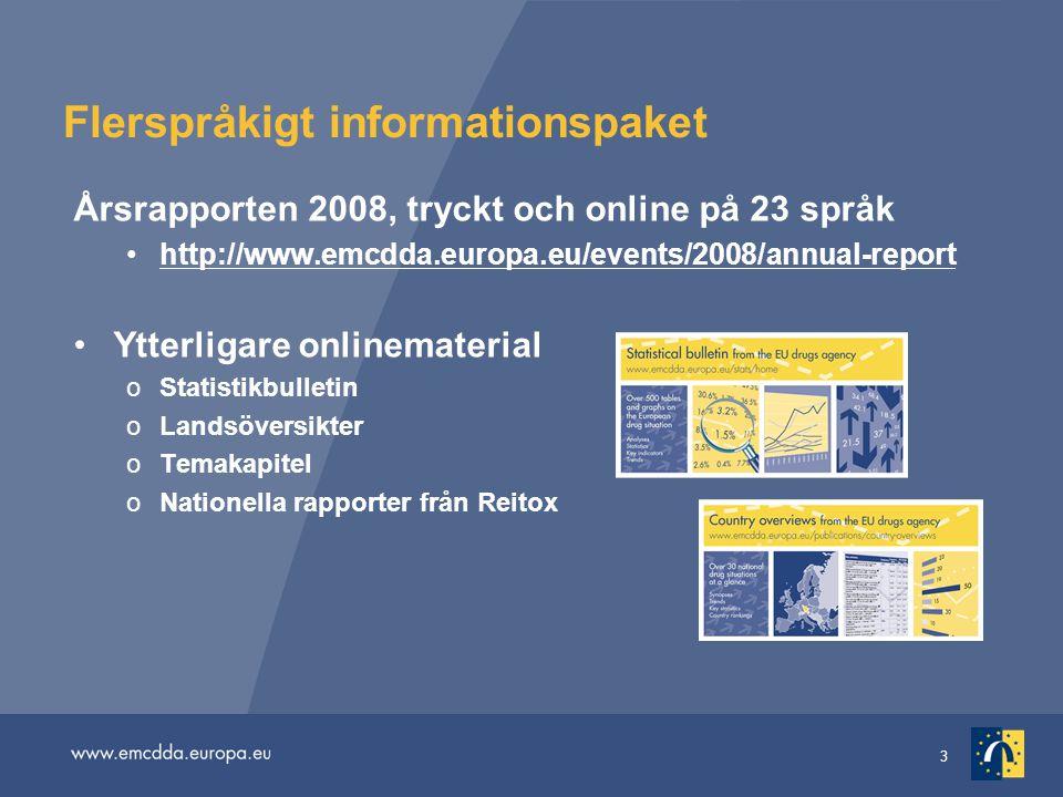 3 Flerspråkigt informationspaket Årsrapporten 2008, tryckt och online på 23 språk http://www.emcdda.europa.eu/events/2008/annual-report Ytterligare onlinematerial oStatistikbulletin oLandsöversikter oTemakapitel oNationella rapporter från Reitox