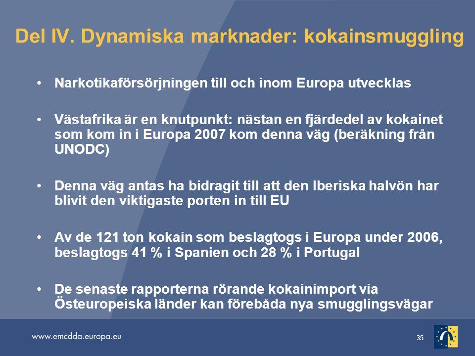 35 Del IV. Dynamiska marknader: kokainsmuggling Narkotikaförsörjningen till och inom Europa utvecklas Västafrika är en knutpunkt: nästan en fjärdedel
