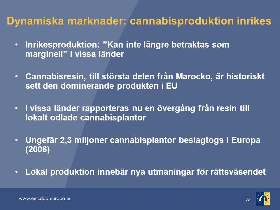 36 Dynamiska marknader: cannabisproduktion inrikes Inrikesproduktion: Kan inte längre betraktas som marginell i vissa länder Cannabisresin, till största delen från Marocko, är historiskt sett den dominerande produkten i EU I vissa länder rapporteras nu en övergång från resin till lokalt odlade cannabisplantor Ungefär 2,3 miljoner cannabisplantor beslagtogs i Europa (2006) Lokal produktion innebär nya utmaningar för rättsväsendet