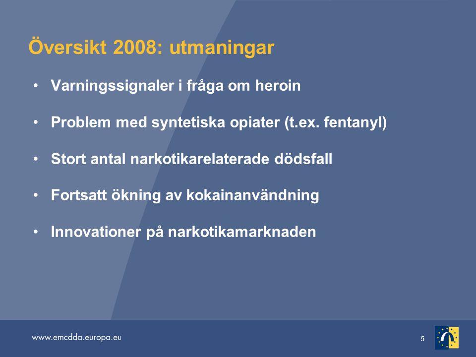 5 Översikt 2008: utmaningar Varningssignaler i fråga om heroin Problem med syntetiska opiater (t.ex. fentanyl) Stort antal narkotikarelaterade dödsfal