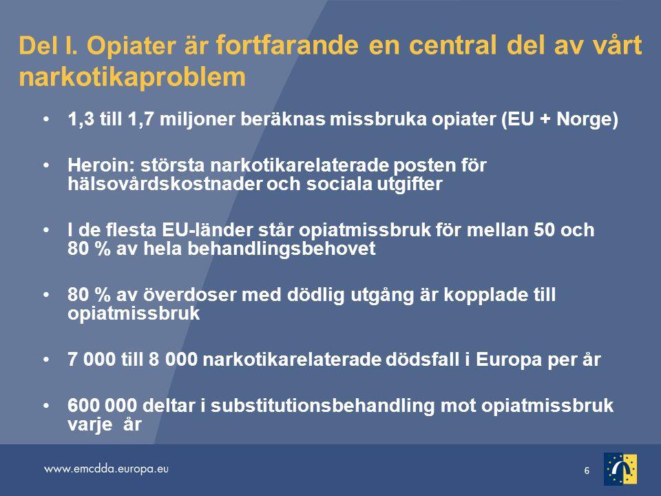 6 Del I. Opiater är fortfarande en central del av vårt narkotikaproblem 1,3 till 1,7 miljoner beräknas missbruka opiater (EU + Norge) Heroin: största