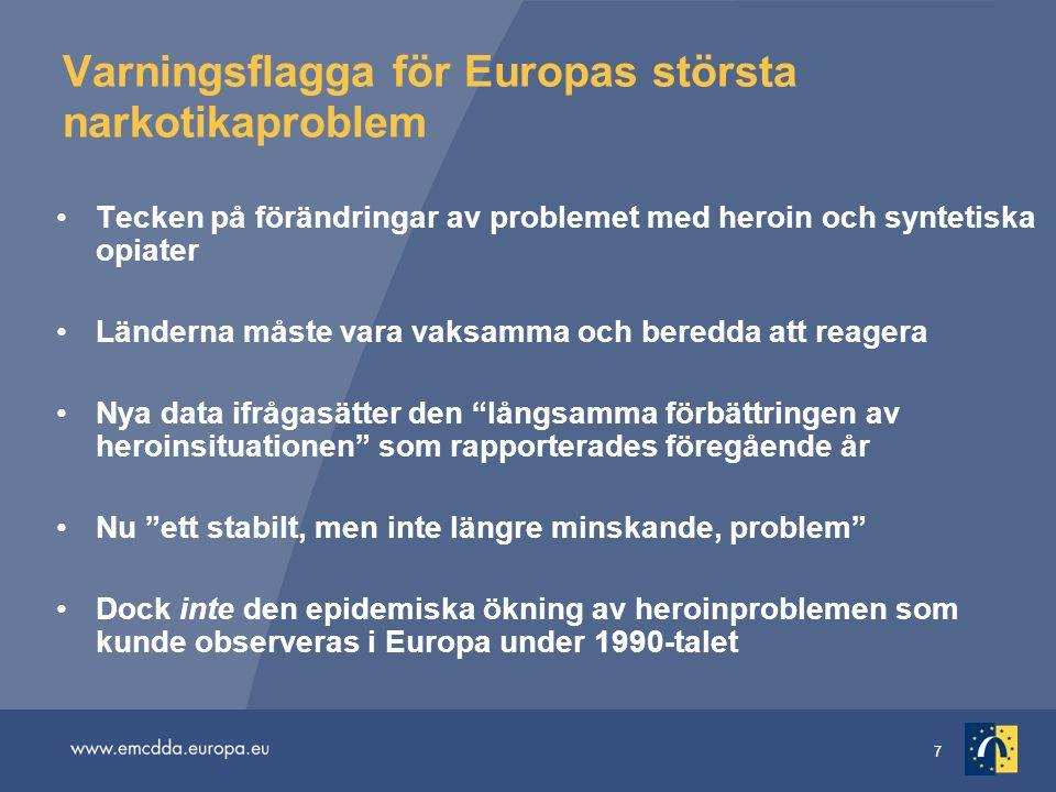 7 Varningsflagga för Europas största narkotikaproblem Tecken på förändringar av problemet med heroin och syntetiska opiater Länderna måste vara vaksamma och beredda att reagera Nya data ifrågasätter den långsamma förbättringen av heroinsituationen som rapporterades föregående år Nu ett stabilt, men inte längre minskande, problem Dock inte den epidemiska ökning av heroinproblemen som kunde observeras i Europa under 1990-talet
