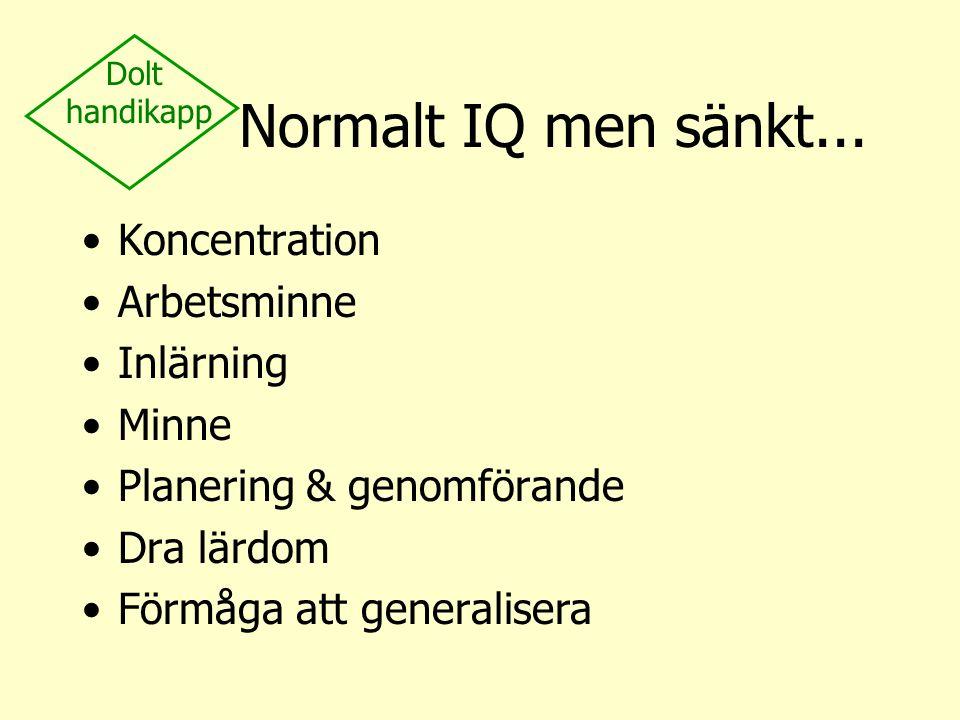 Normalt IQ men sänkt... Koncentration Arbetsminne Inlärning Minne Planering & genomförande Dra lärdom Förmåga att generalisera Dolt handikapp