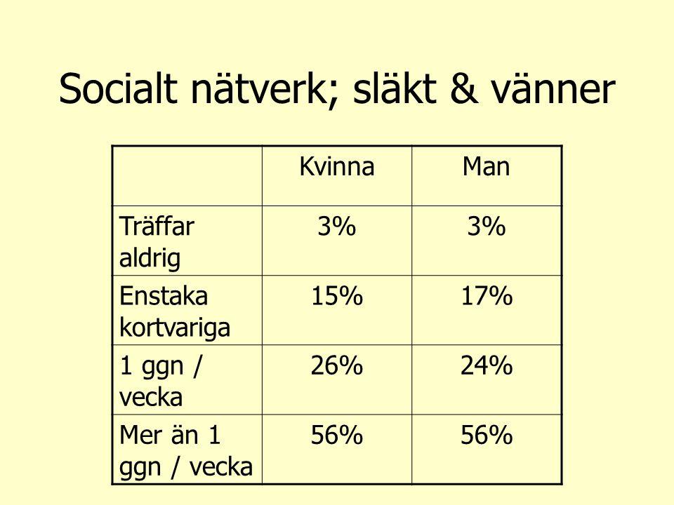 Socialt nätverk; släkt & vänner KvinnaMan Träffar aldrig 3% Enstaka kortvariga 15%17% 1 ggn / vecka 26%24% Mer än 1 ggn / vecka 56%