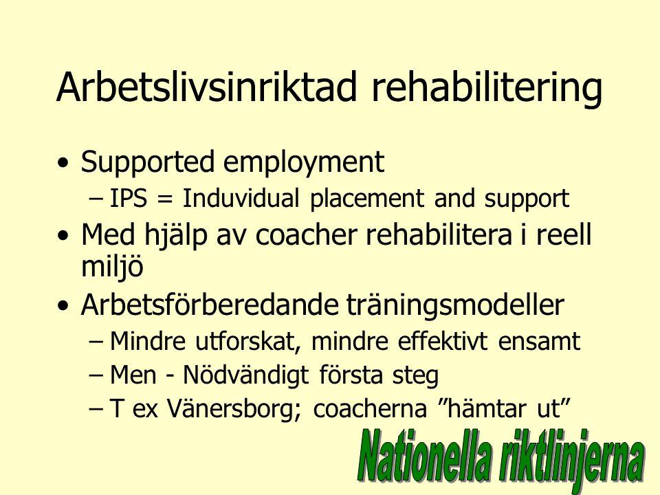 Arbetslivsinriktad rehabilitering Supported employment –IPS = Induvidual placement and support Med hjälp av coacher rehabilitera i reell miljö Arbetsf