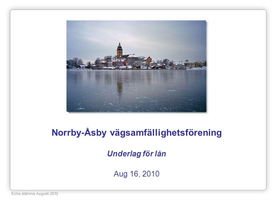 Norrby-Åsby vägsamfällighetsförening Underlag för lån Aug 16, 2010 Extra stämma Augusti 2010