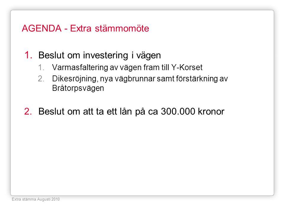 AGENDA - Extra stämmomöte 1. Beslut om investering i vägen 1.Varmasfaltering av vägen fram till Y-Korset 2.Dikesröjning, nya vägbrunnar samt förstärkn
