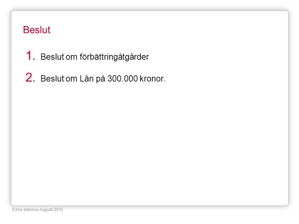 Beslut 1. Beslut om förbättringåtgårder 2. Beslut om Lån på 300.000 kronor. Extra stämma Augusti 2010