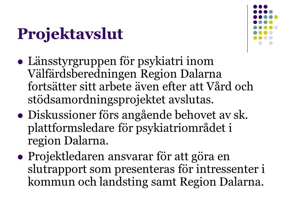 Projektavslut Länsstyrgruppen för psykiatri inom Välfärdsberedningen Region Dalarna fortsätter sitt arbete även efter att Vård och stödsamordningsprojektet avslutas.