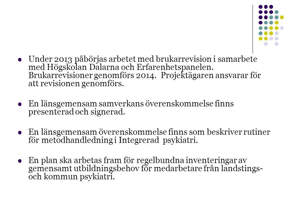 Under 2013 påbörjas arbetet med brukarrevision i samarbete med Högskolan Dalarna och Erfarenhetspanelen.