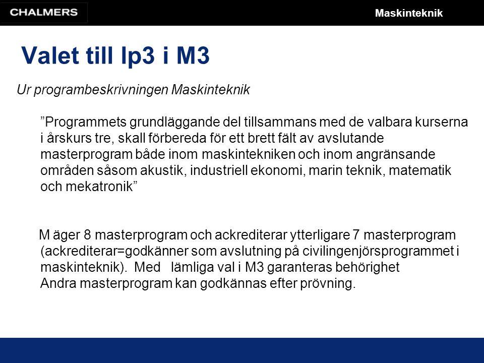 Maskinteknik Valet till lp3 i M3 Ur programbeskrivningen Maskinteknik Programmets grundläggande del tillsammans med de valbara kurserna i årskurs tre, skall förbereda för ett brett fält av avslutande masterprogram både inom maskintekniken och inom angränsande områden såsom akustik, industriell ekonomi, marin teknik, matematik och mekatronik M äger 8 masterprogram och ackrediterar ytterligare 7 masterprogram (ackrediterar=godkänner som avslutning på civilingenjörsprogrammet i maskinteknik).