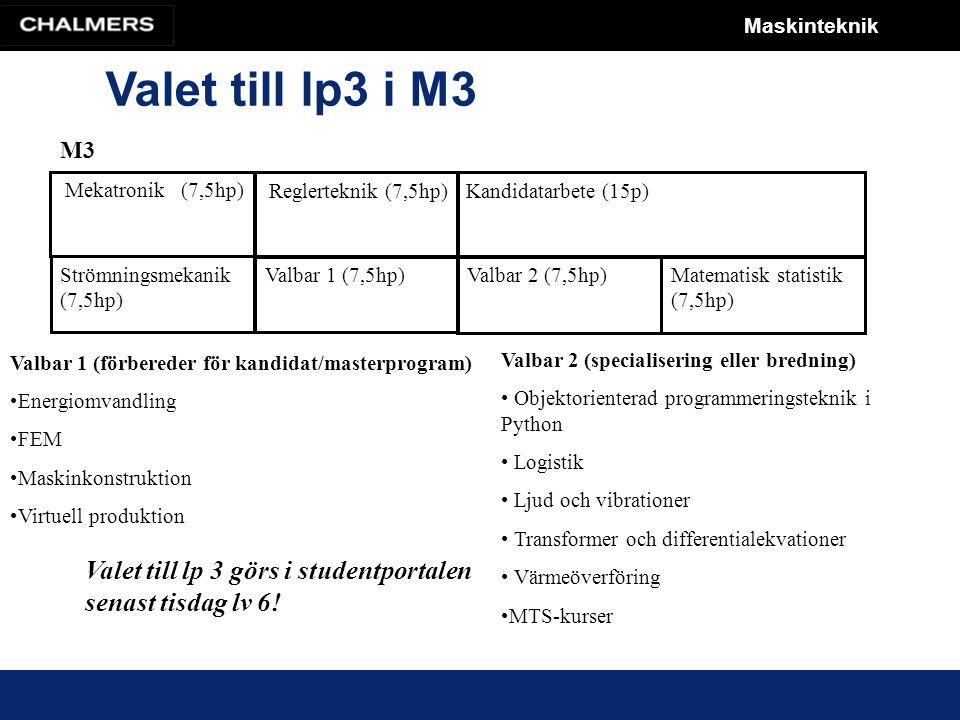 Maskinteknik Valet till lp3 i M3 M3 Mekatronik (7,5hp) Reglerteknik (7,5hp) Strömningsmekanik (7,5hp) Valbar 1 (7,5hp) Valbar 2 (7,5hp)Matematisk statistik (7,5hp) Kandidatarbete (15p) Valbar 1 (förbereder för kandidat/masterprogram) Energiomvandling FEM Maskinkonstruktion Virtuell produktion Valbar 2 (specialisering eller bredning) Objektorienterad programmeringsteknik i Python Logistik Ljud och vibrationer Transformer och differentialekvationer Värmeöverföring MTS-kurser Valet till lp 3 görs i studentportalen senast tisdag lv 6!